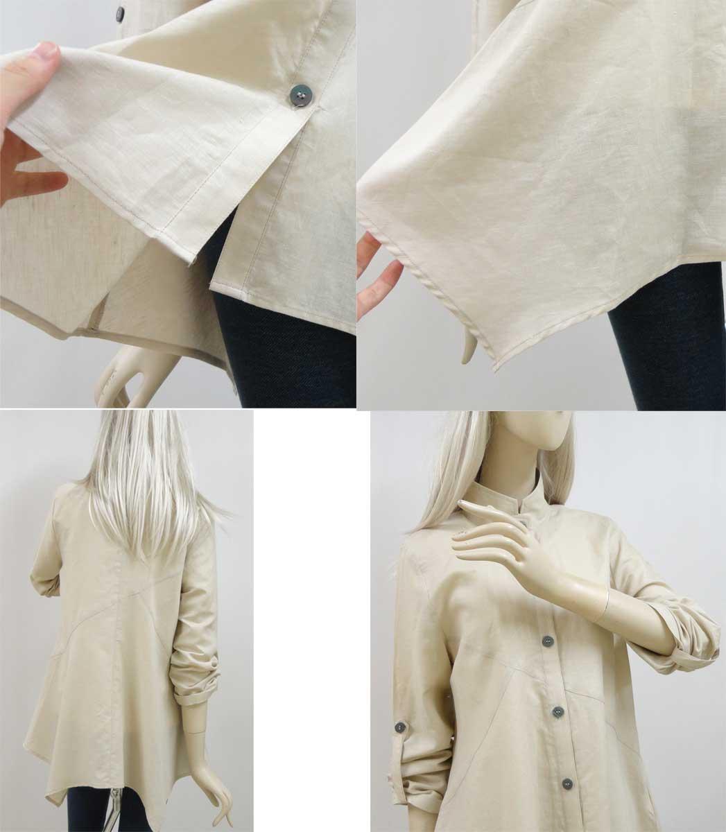 611綿麻シャツベージュの背面全体と質感と袖b3