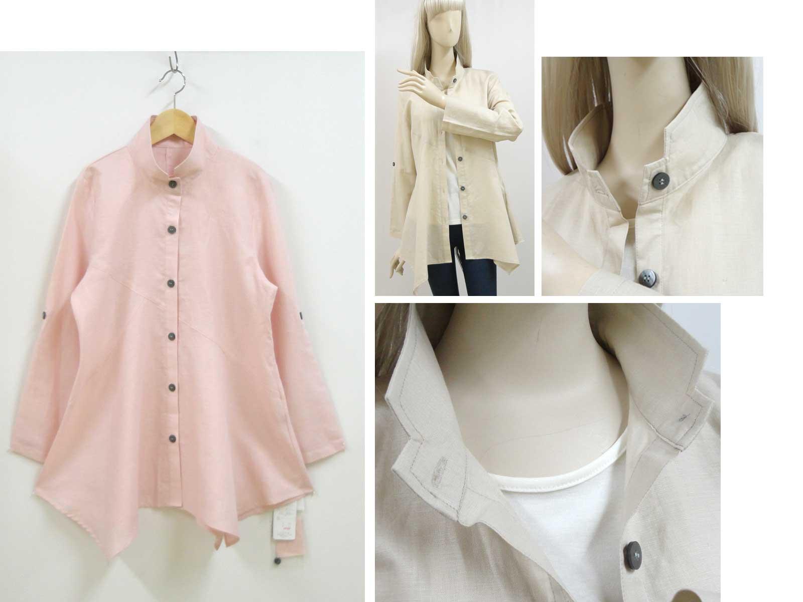 611綿麻素材シャツのピンクとコーディネート画像襟の拡大b