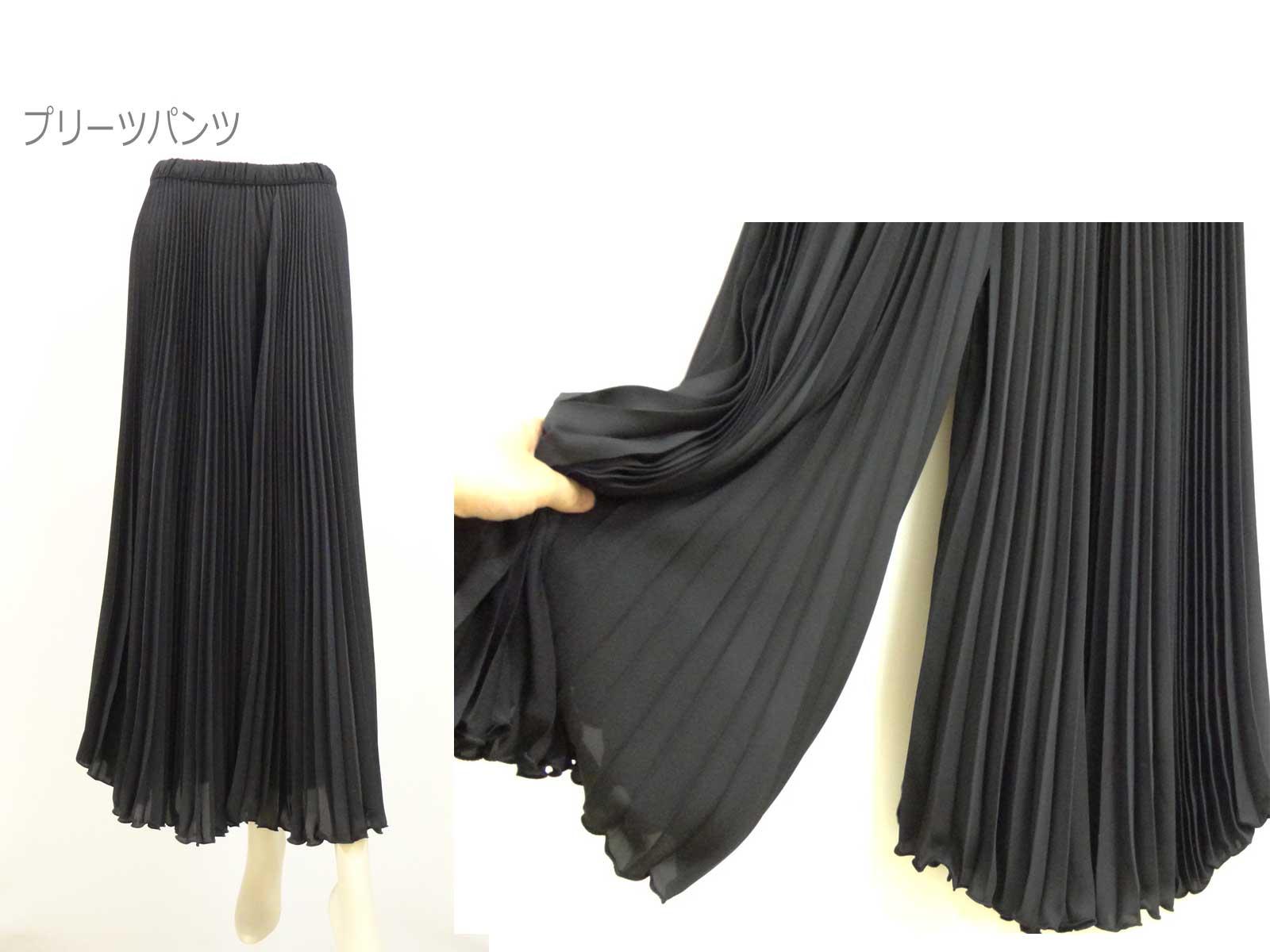 065プリーツパンツ黒y