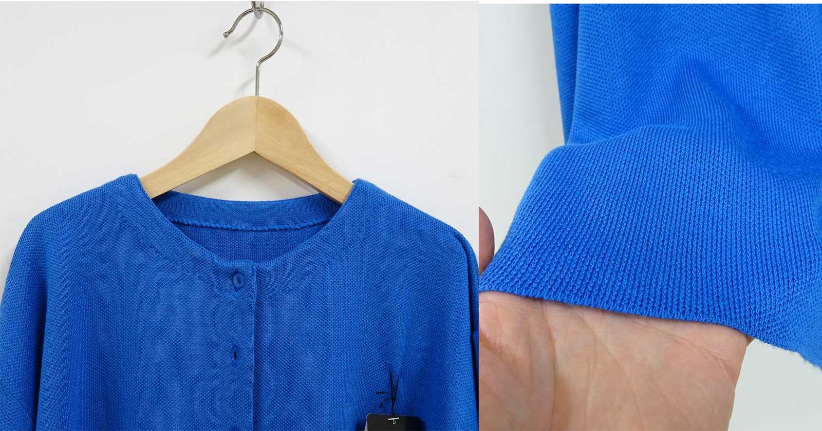 レディース用ショート丈の長袖カーディガン青アップ