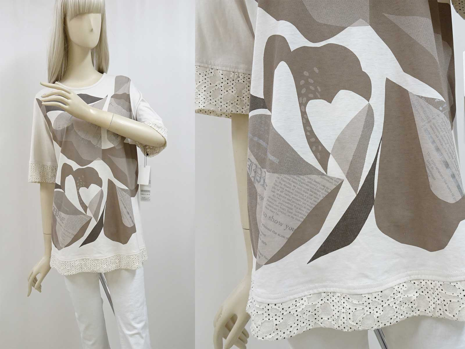 半袖プリント綿シャツのベージュ