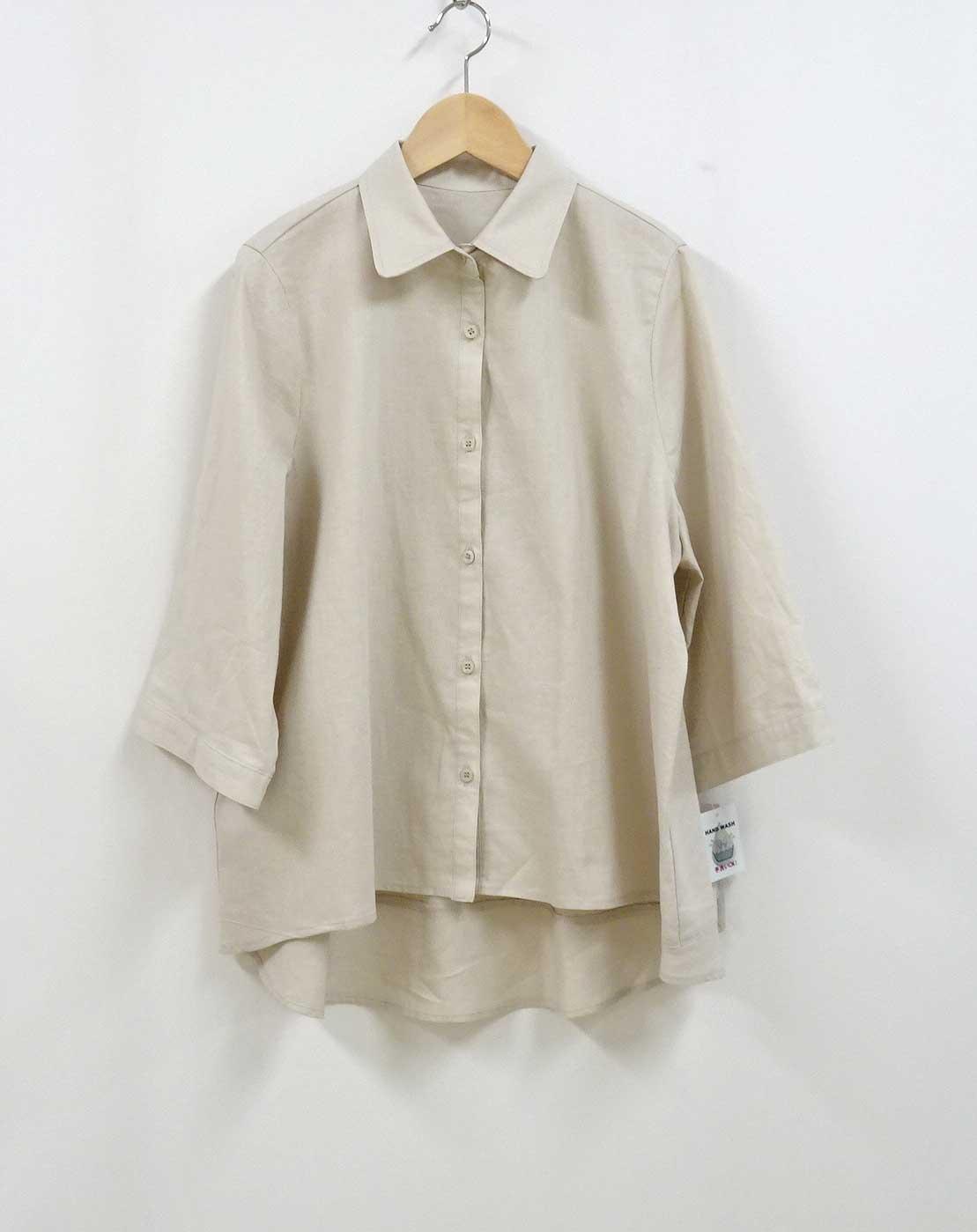 綿と麻の薄手のシャツAラインベージュ