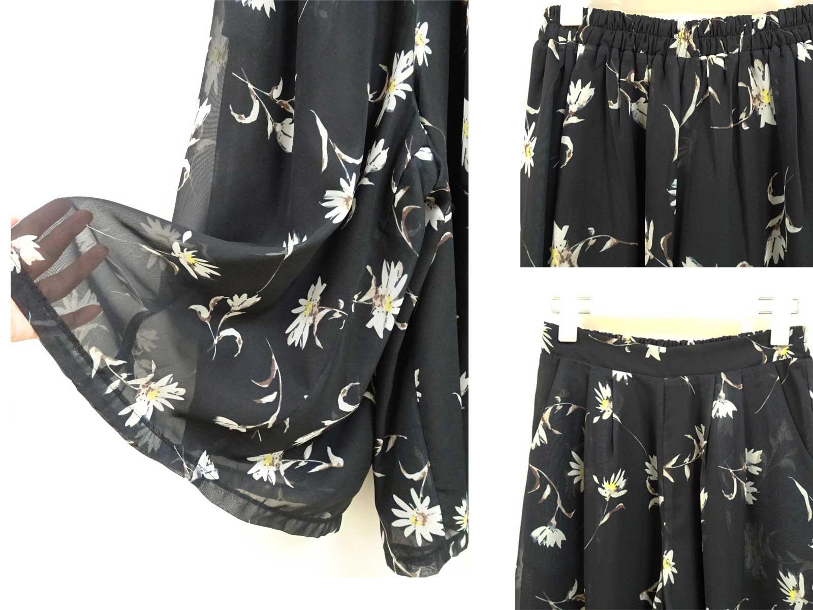 花柄のシフォンガウチョワイドパンツ黒