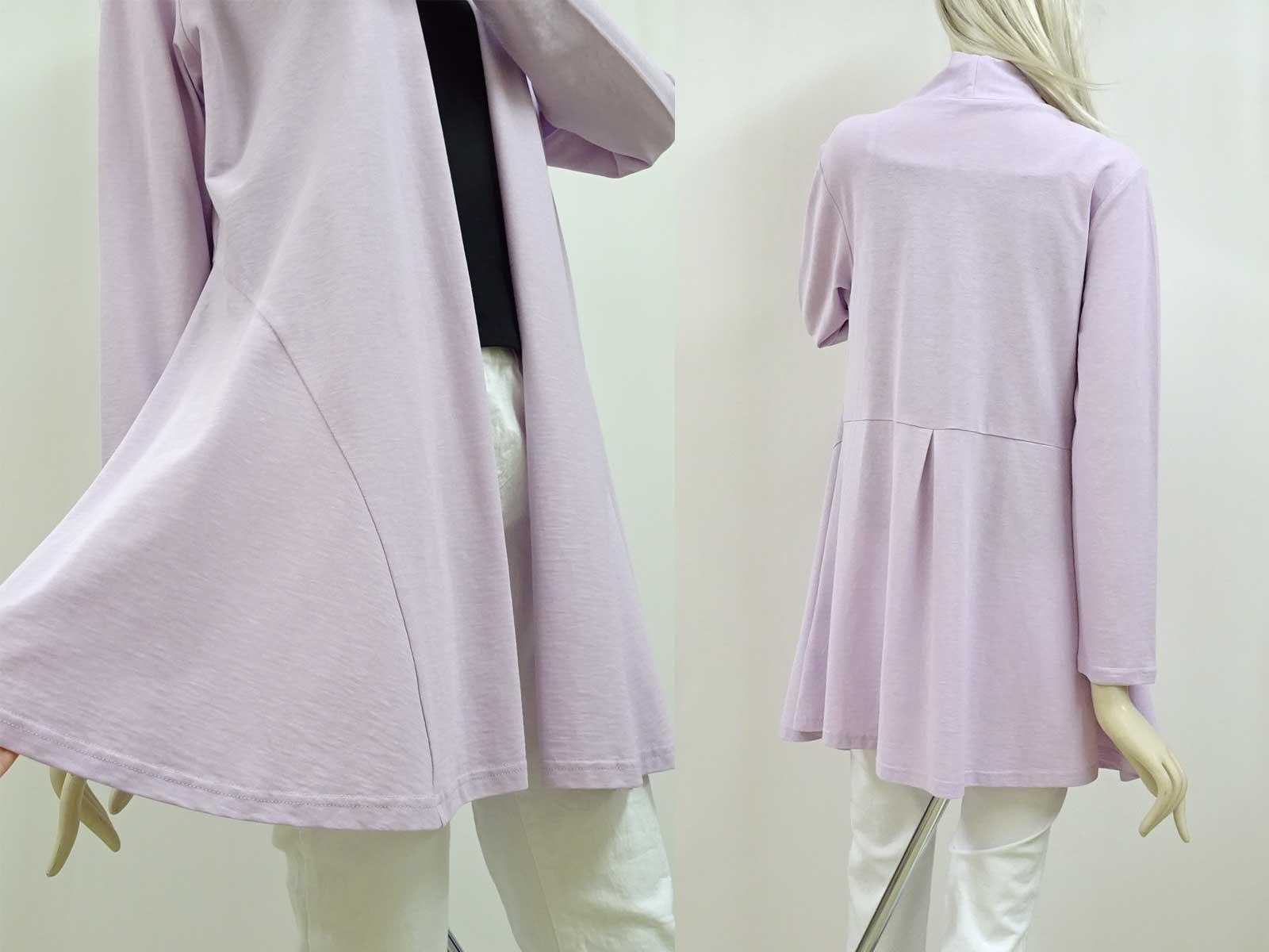 綿100%の長袖のロングカーディガンラベンダー