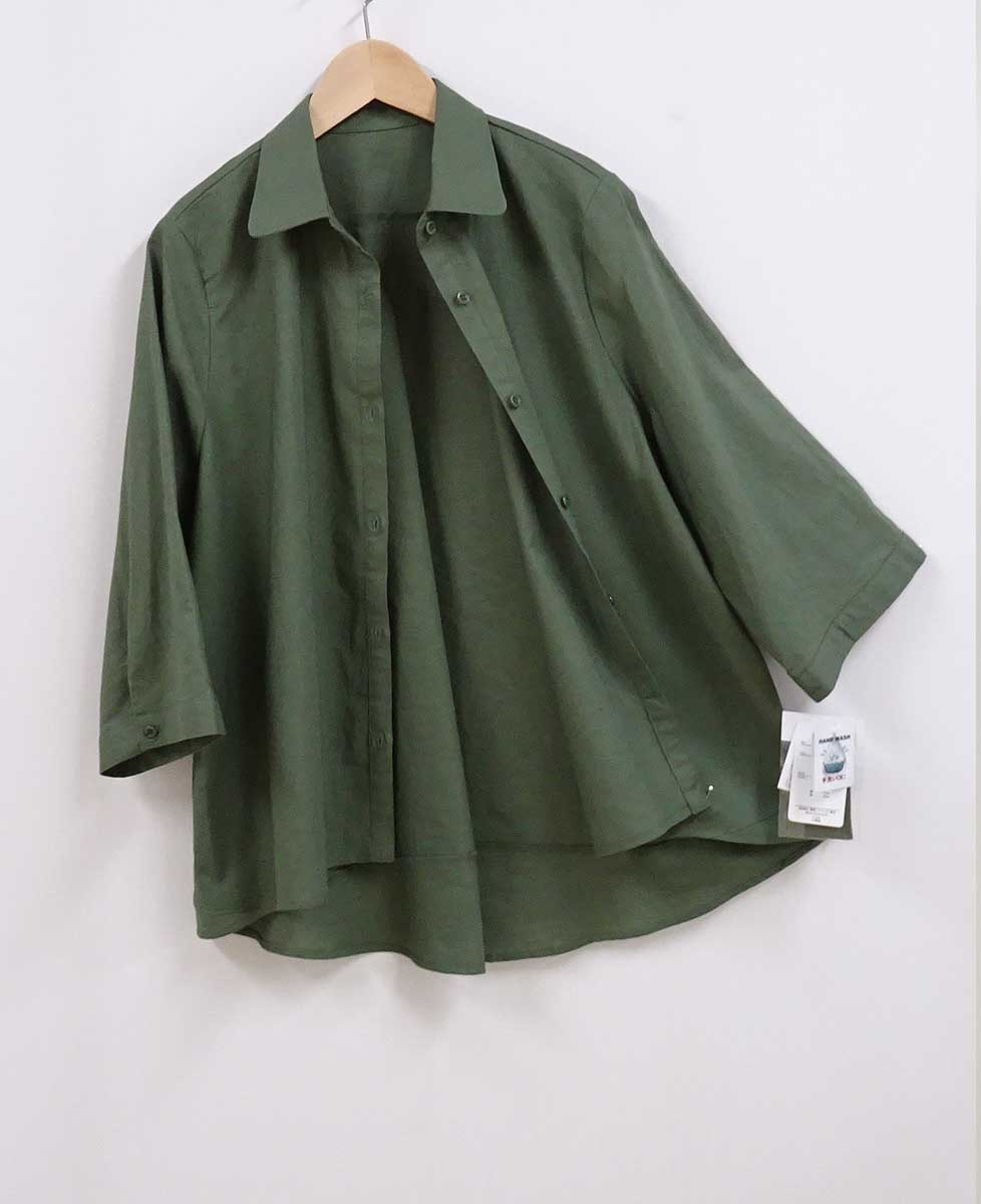 630綿麻混7分袖丈シャツのカーキグリーン