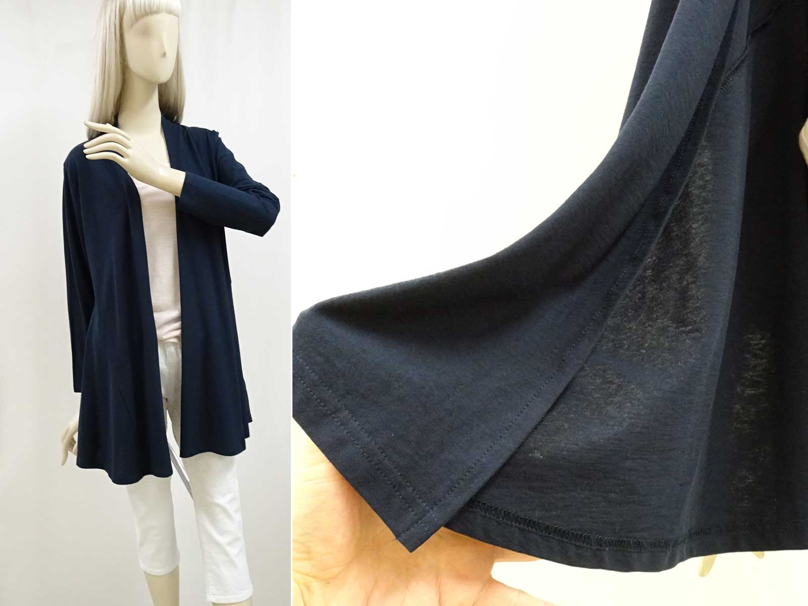 綿100%の長袖のロングカーディガン紺色