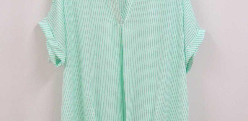 1928シフォンブラウスストライプのグリーン