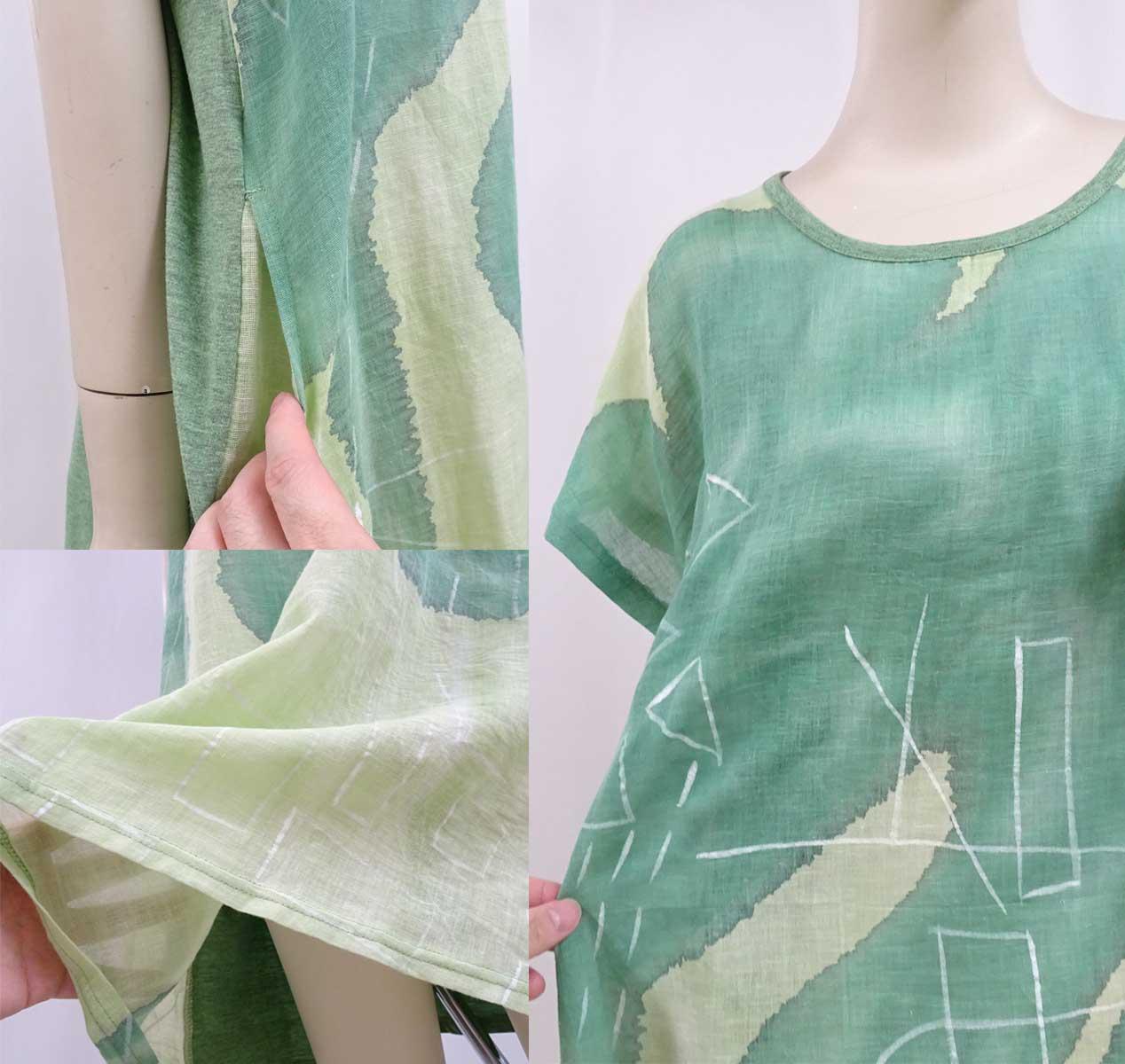 10042綿麻混紡ワンピース染めのグリーン