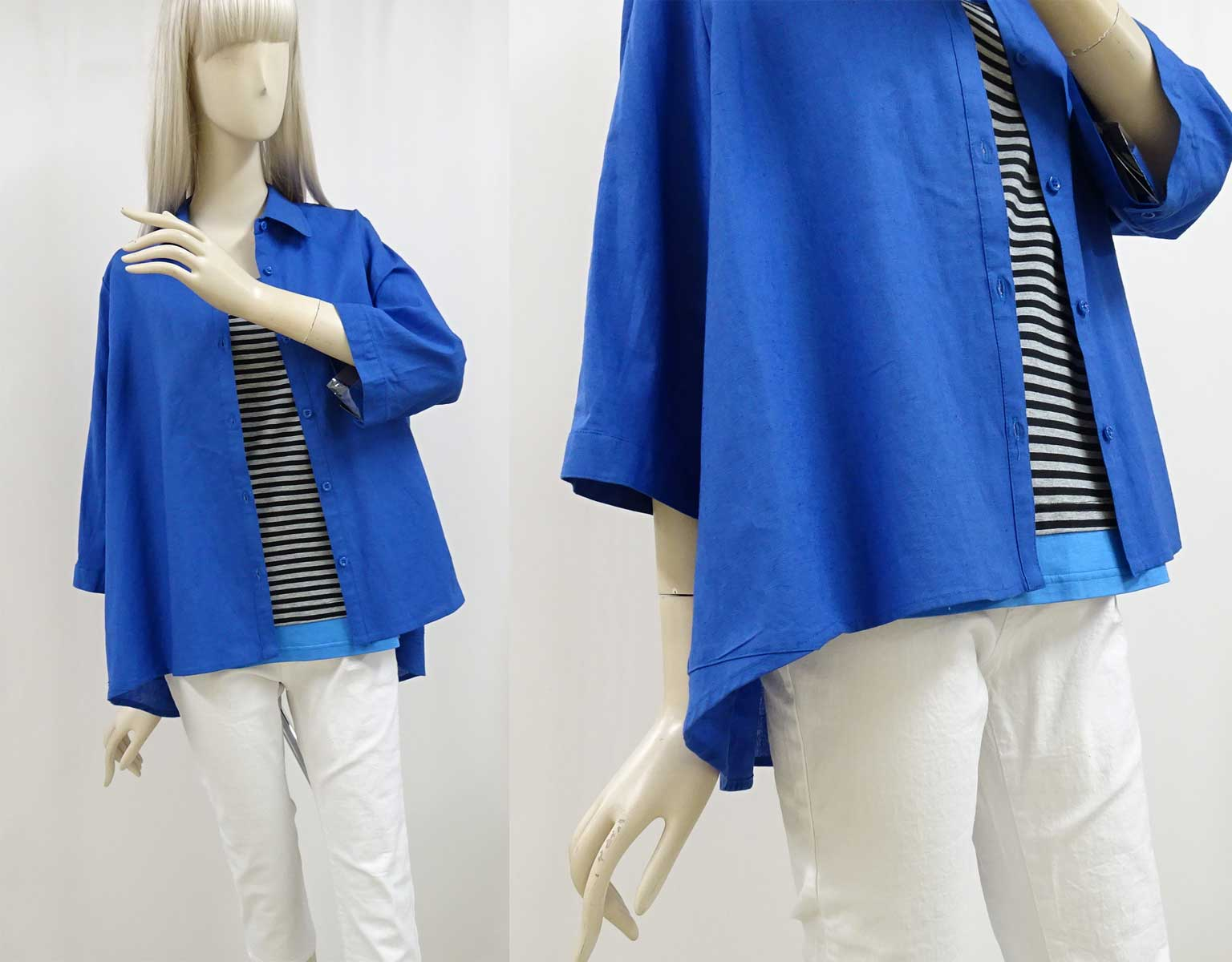 630綿麻混7分袖丈シャツのブルー