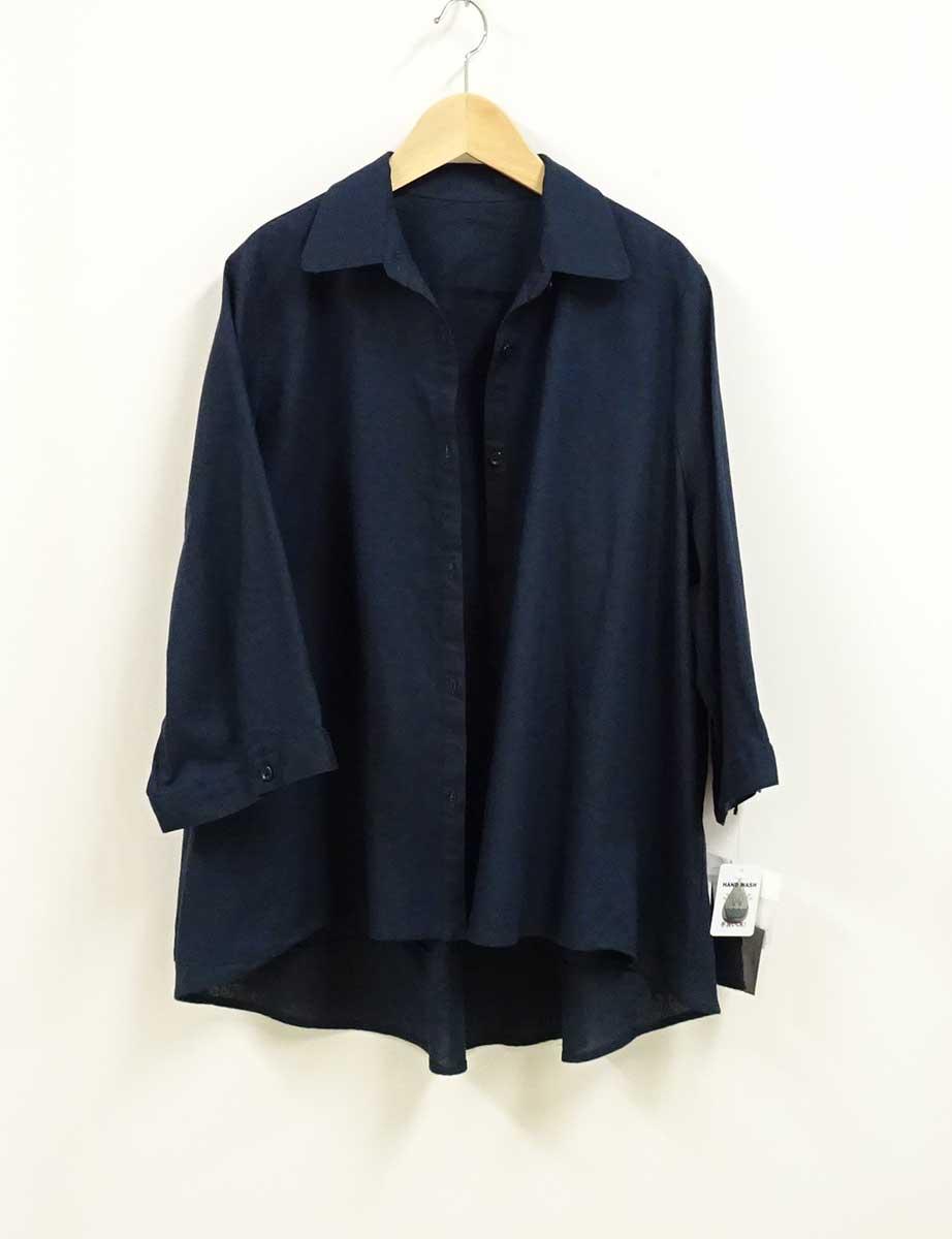 630綿麻混7分袖丈シャツの紺