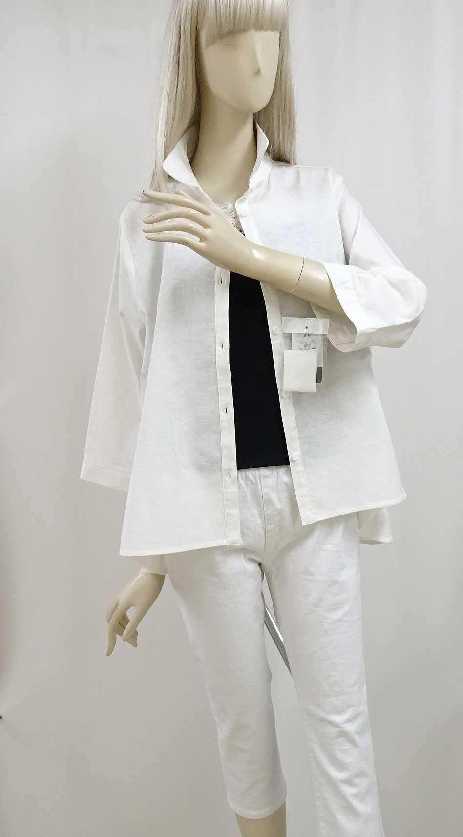 630綿麻シャツAラインの白
