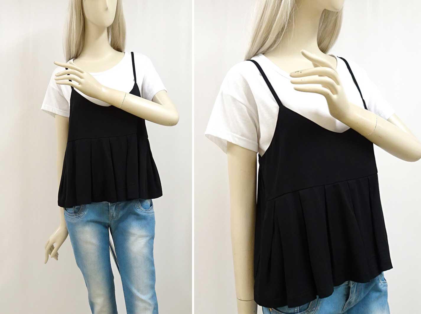 45320白いTシャツと黒いキャミソールのセット