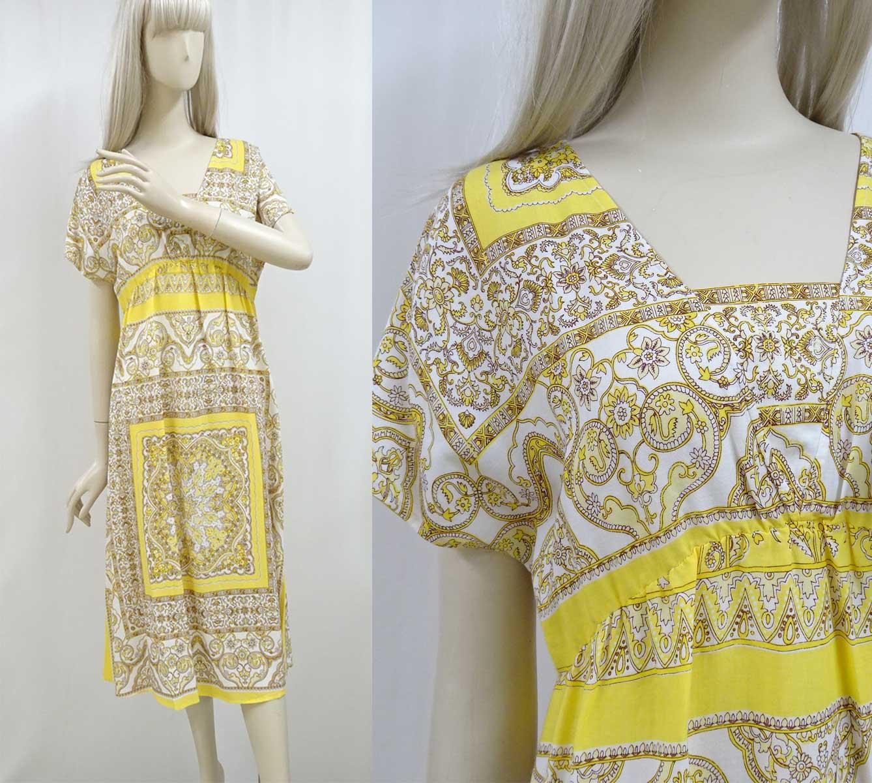 10052エスニック柄の半袖ワンピース黄色