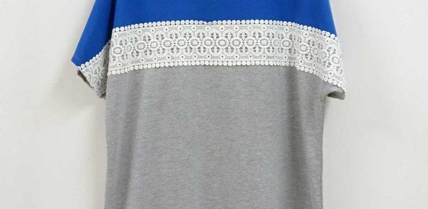 レースのついたブルー×グレーのTシャツ大きいサイズ