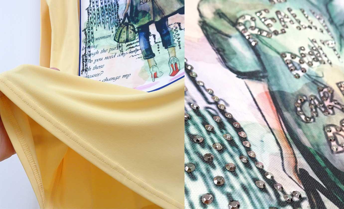 長袖のマスタードイエローのカットソープリントラインストーン
