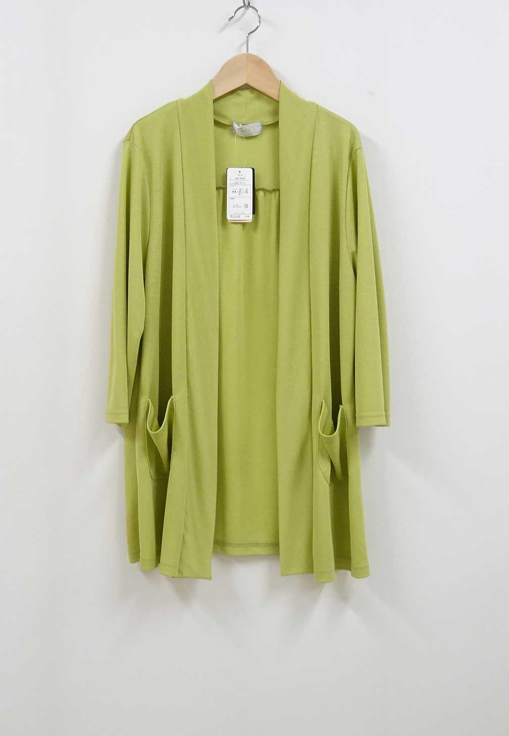 肌に優しい7分袖丈カーディガン日本製グリーン