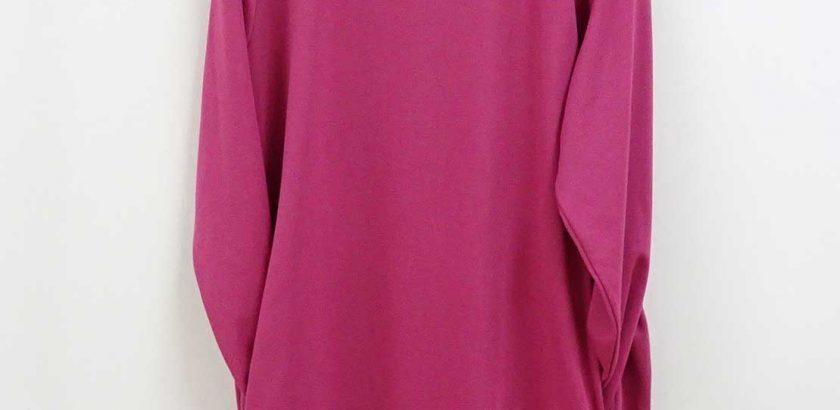 長袖のコクーン型チュニックショッキングピンク