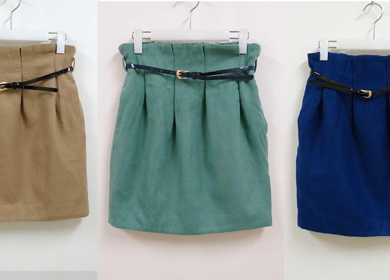 ウールのような質感のコクーン型シルエットスカート3色