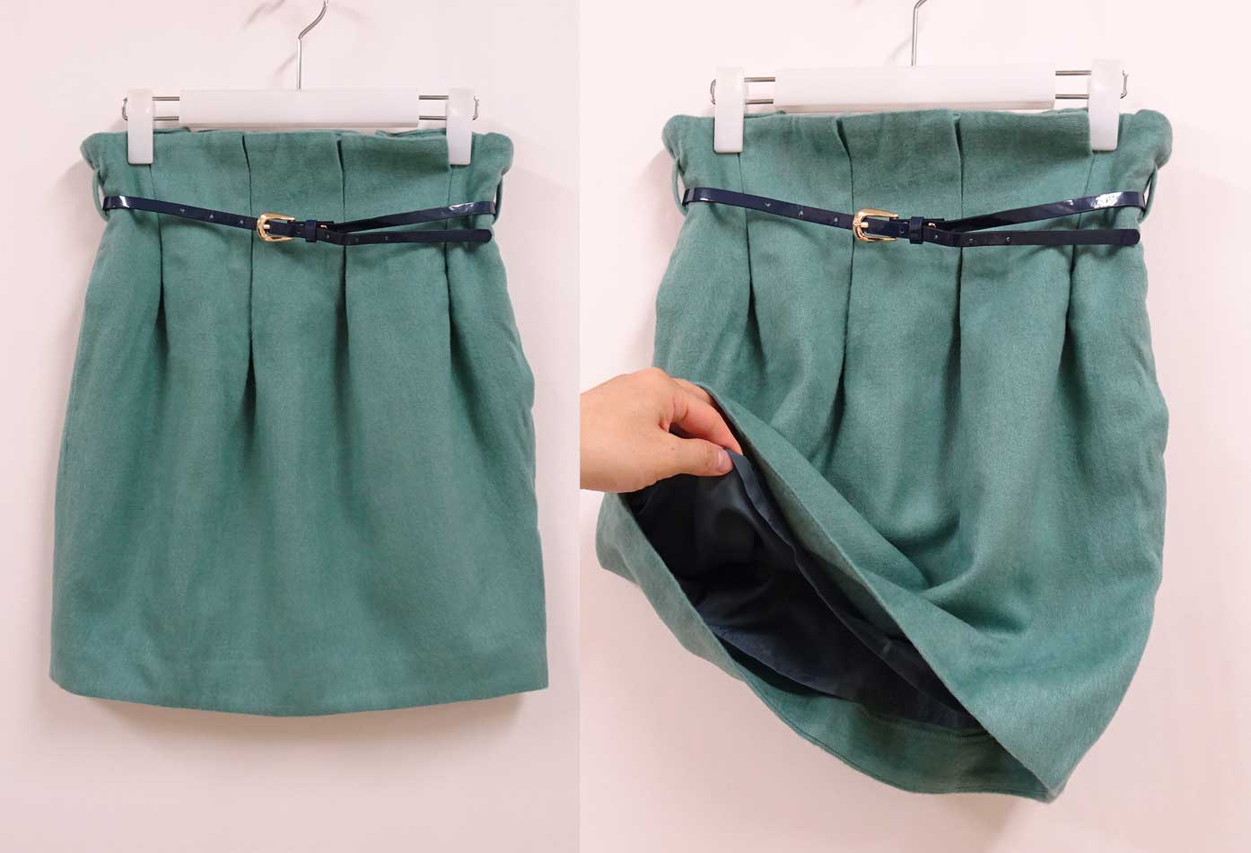 ウールのような質感のコクーン型シルエットスカートミントグリーン