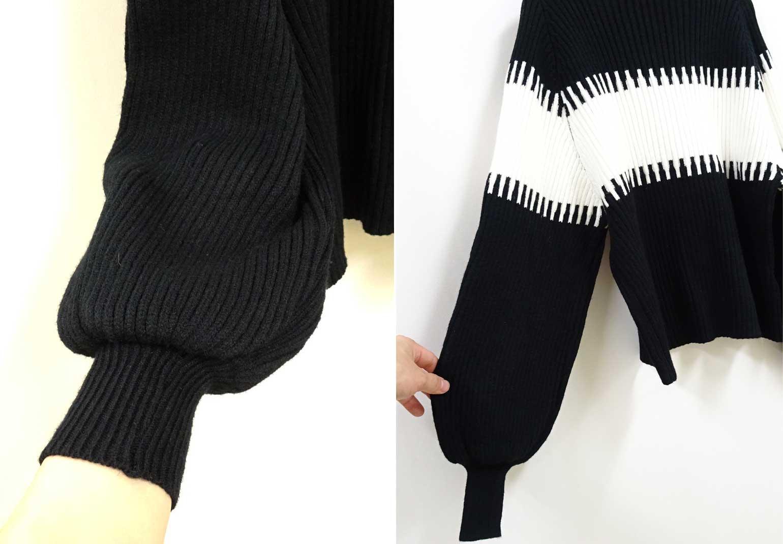 コーム絵柄の袖ふんわりセーター黒