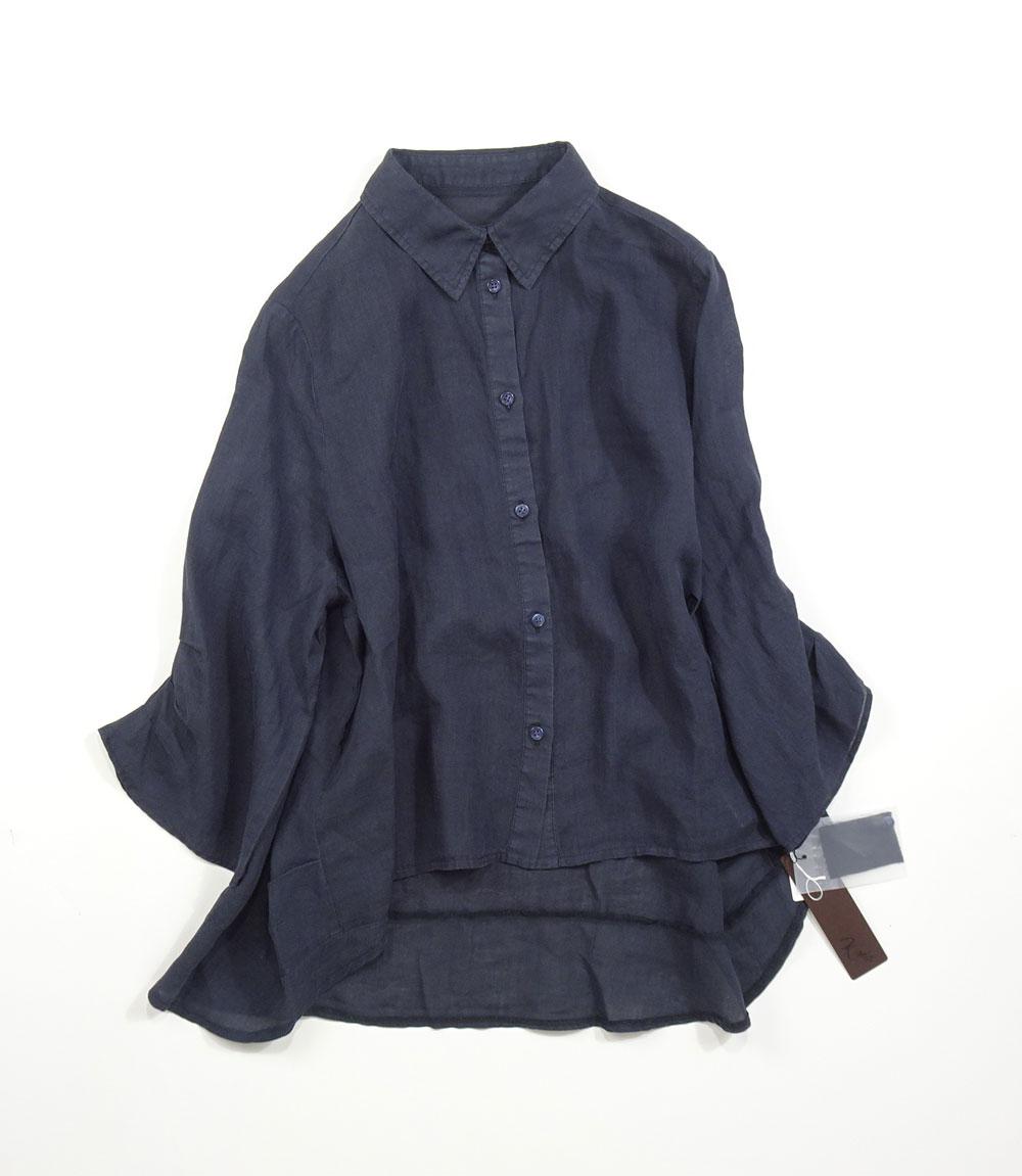 麻シャツ紺色