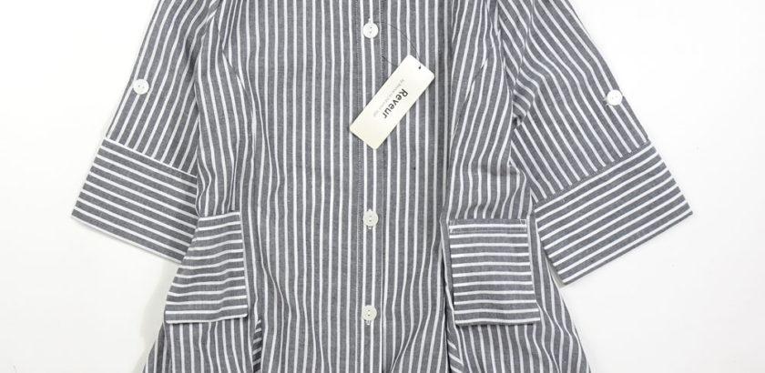 ストライプ綿ジャケット7分袖丈グレー前面