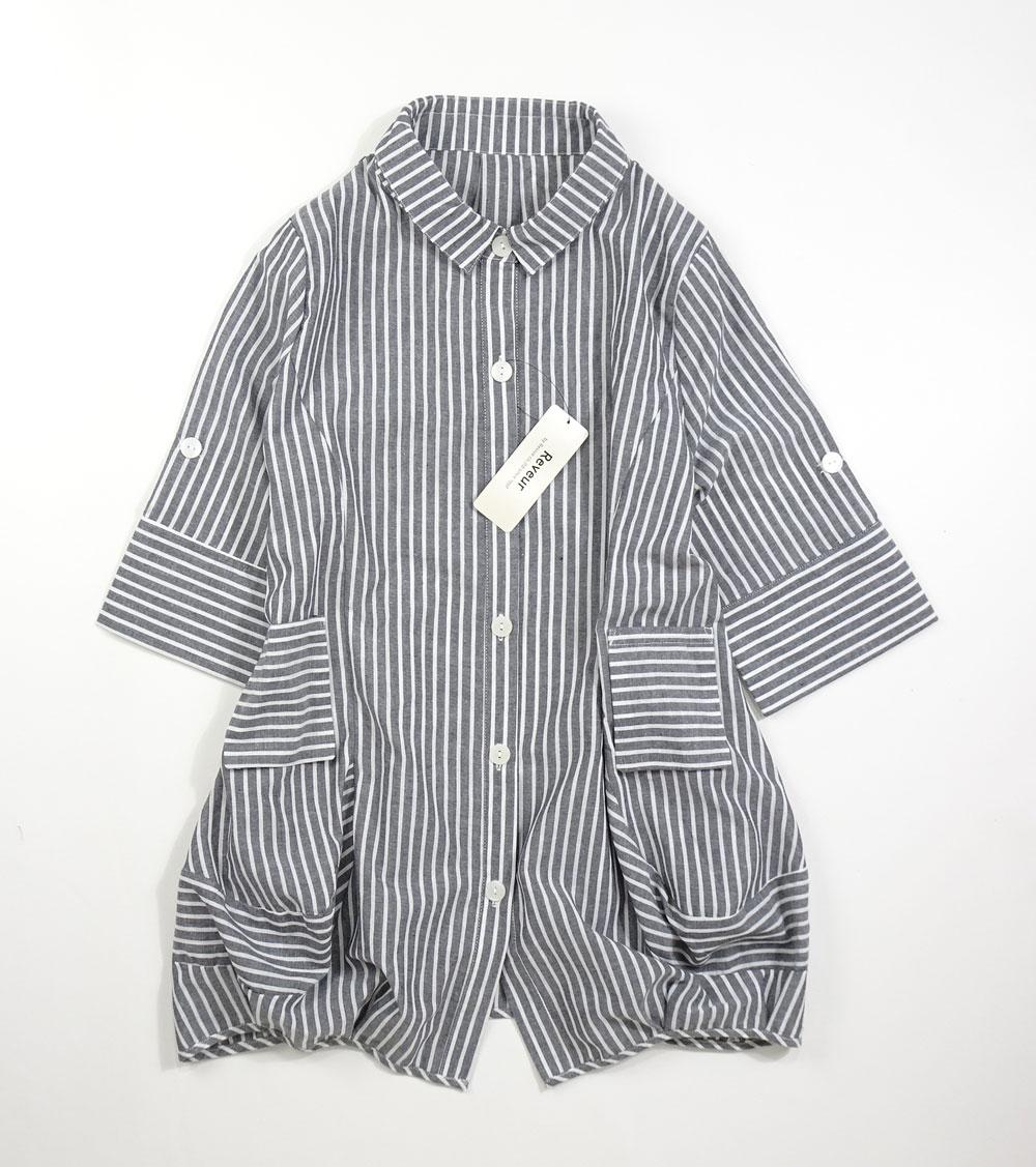 ストライプ綿ジャケット7分袖丈