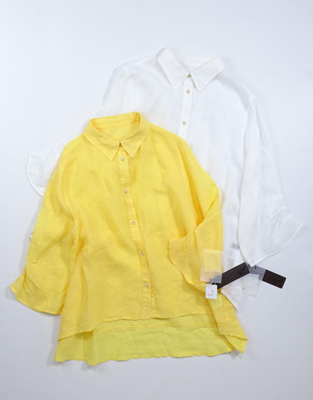 麻シャツ黄色と白