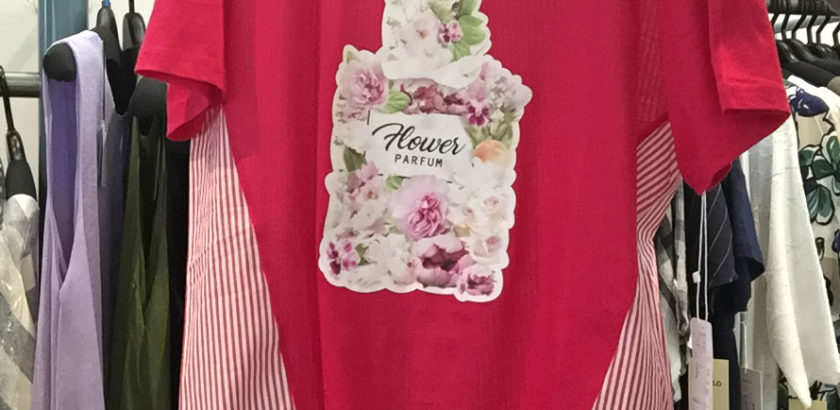 半袖Tシャツピンクハーバリウムプリント×ストライプ