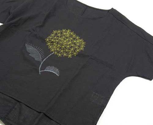 コットン刺繍カットソードルマンスリーブ黒前面