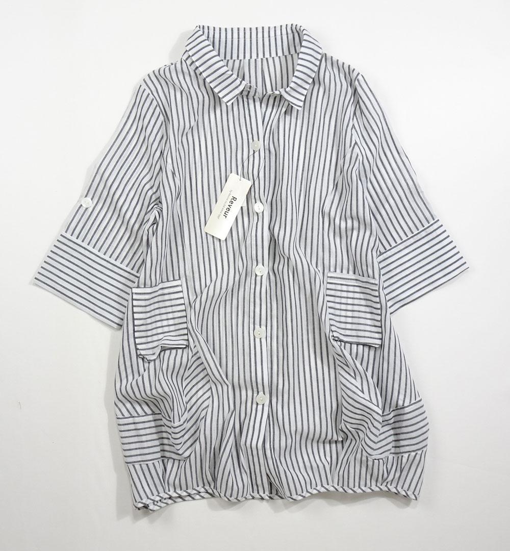 ストライプ綿ジャケット7分袖丈白前面