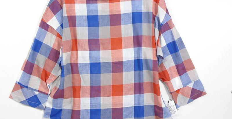 綿ローンギンガムチェックブラウスレッド系単品