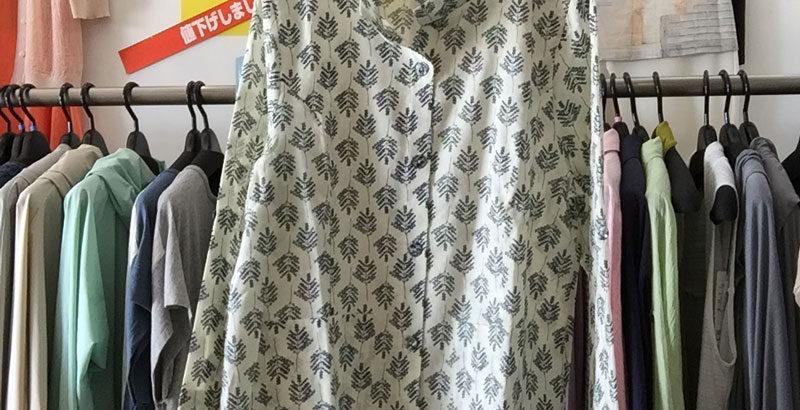 綿シャツジャケット生成り木の柄アイボリー